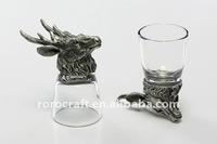 antique pewter animal head glass shot galss welcome OEM design craft dragon BUFFALO CHICKEN short glass