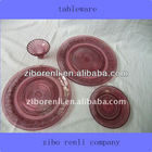Round Decorative Glass Plate Beaded Red Brown Different Kinds of Tableware