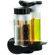 SINOGLASS 4pcs Gemini Salad Dressing Set vinegar and salt jar