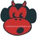 Tête de singe de diable dans l'émail rouge de noir d'abd