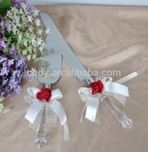 Hot Sell Wedding Cake Knife & Server Set,Wine rose party cake and knife server
