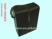 Leather wine bottle carrier