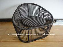 Outdoor aluminum PE wicker rattan chair in modern design