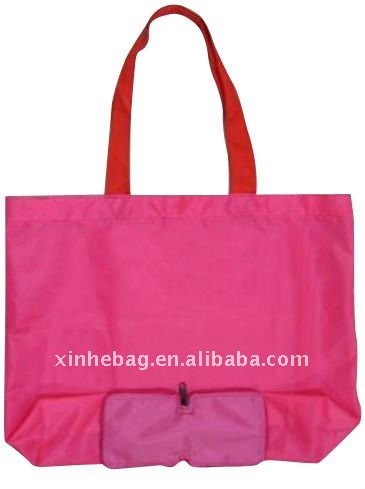 Pliage polyester shopping bag avec poche( xh- nl00061)