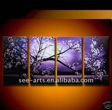 purple large wall art decor painting cherry flower