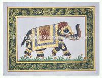 Antique Elephant Design Wall Decor Miniature Ethnic Handmade Painting On Silk Home Decor Art 34X17 Inches Blue