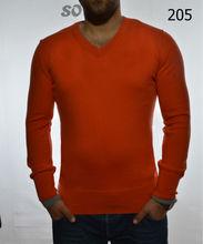 Men's V Neck Fine Merino Wool orange color knitwear sweater