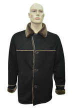 Genuine Shearling Sheepskin Fur Leather Men's Fashionable Coat