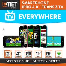 "SMARTPHONE IPRO 4.0 - TRANS 3 TV - 4GB - DUAL CORE - 4"" DISPLAY - DUAL CAMERA - DUAL SIM - WIFI - BLUETOOTH - ANDROID"
