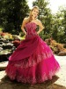 2014 Sweetheart Neckline Beaded Trim Dropped Waist Tiered Ruffle Skirt Ball Gown Taffeta Plus Size Fuchsia Prom Dresses Long