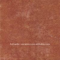 Red glazed ceramic floor tile 12x12