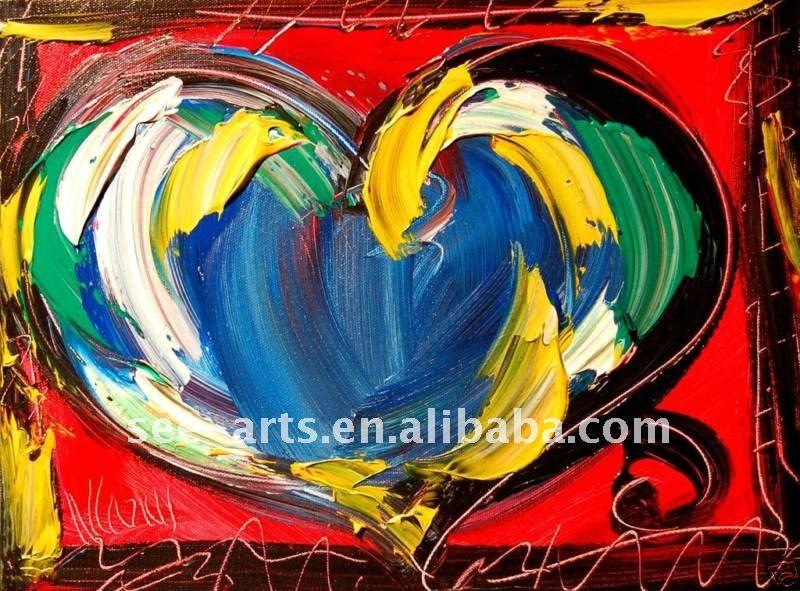Fina galería de arte de la lona del corazón amor pintura al óleo ...