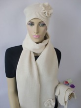 popular scarf hat and glove,knitting set,women scarf hat glove