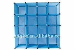 Blue Color plastic household kitchen Rack /foldable storage cube/16 cube box