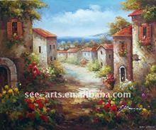 tuscany italian vineyard landscape painting SJL-0184