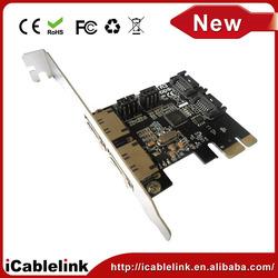 Hotsale 4 Port mini PCI-E Express SATA 3.0 & eSATA 3.0 Card PCIe card adapter,Card pcie 100/1000M server adapter for computer
