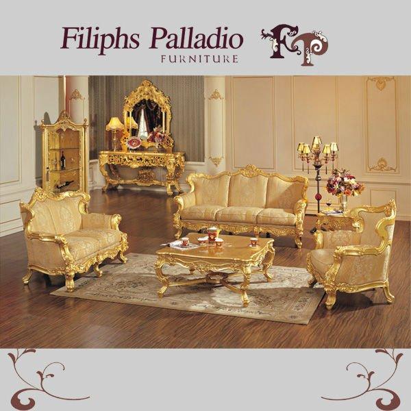 italian wooden furniture all golden foil living room