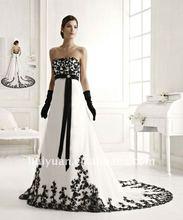 Hand emboridery flowers strapless black and white wedding dresses 2012