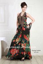 2012 Fashion Leopard evening dress Sexy Back Open evening dress Beaded evening dress 4251A