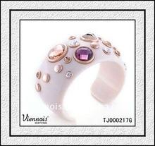 Ladies Fashion Jewelry Cuff Bangles Design, Cream Stone Bangle, Milky Way