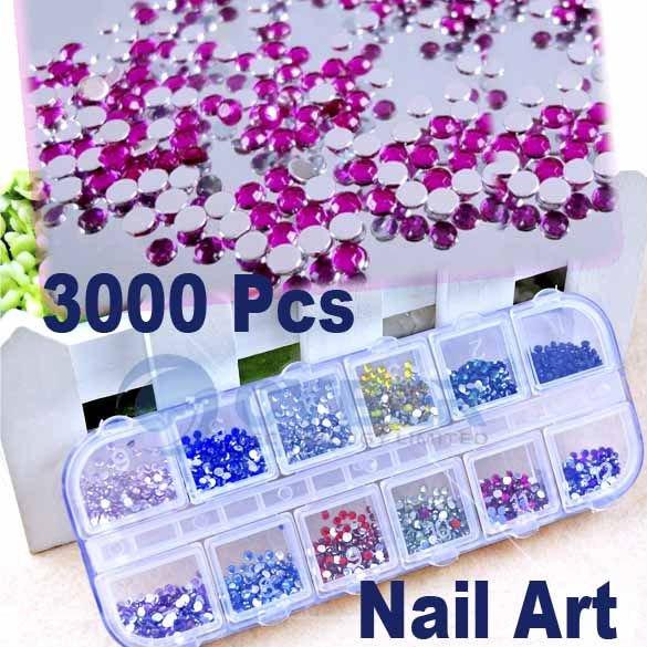3000 pieces Mix Color Teardrop Flat Back Nail Art Rhinestones Deco Glitters Gems 2064