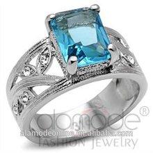 Fashion rectangle aquamarine stone engagement jewellery ring