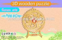 3d wooden craft-lucky dragon and phonenix