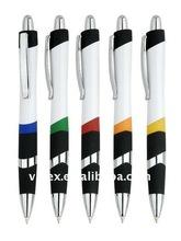 plastic logo pen,promotion pen with matel clip 741