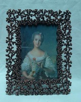 Rectangle Antique Copper Plated Jeweled Metal Pewter Picture Photo Frame Decorated with Flowers (P0120746g1)