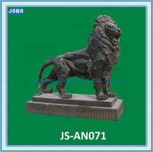 Carved Black Marble Stone Standing Lion Sculpture