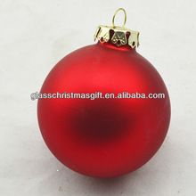 7cm Red Matt Color Christmas Glass Ball Printed Logo