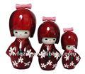 Vermelho arroxeado japonês boneca de madeira made in china