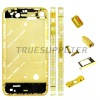 For Apple iPhone 4 CZ Diamond Middle Plate Housing Faceplate Gold