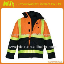 ANSI Class 3 with Sewn-In Thermal Lining and Yellow Reflexite Tape High-Visibility Orange Safety Reflective Winter Coat