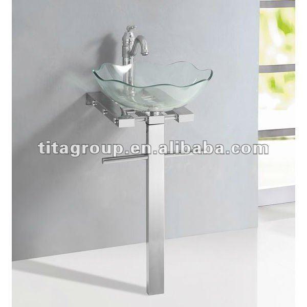 Lavabos Para Baños Cristal:Cristal claro de pie con # 304 base de acero inoxidable-Fregaderos de