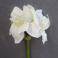 "27"" Realistic Silk Artificial Flower Amaryllis With 2 Flowers 1 Bud"
