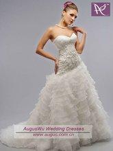 AWM-086 Beautiful Layered Organza Muslim Bridal Gown Wedding Dress