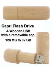 Capri flash drive a wooden usb with a removable cap Brand new classic bamboo tube usb flash disk