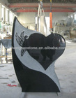 Shanxi black carved bird and heart granite tombstone