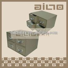 Cuir artificiel 4 tiroirs boîte