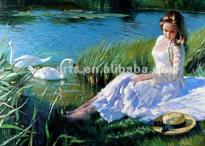 Personalizada hermosa de la muchacha de pintura al óleo