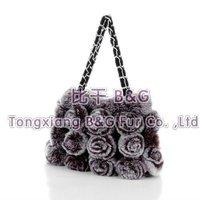 5811 Fashion Lady Genuine Rabbit Fur Bag with Flowers