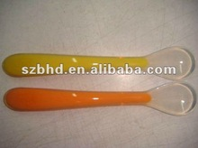 2012 The Most Safe!!! plastic handle and soft silicone spoon