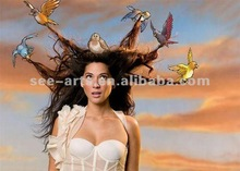 2012 Best price high quality wall art of sexy girls with animals
