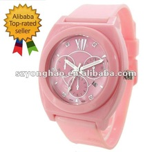 thinner pink plastic wrist watch japan movement 5ATM water proof