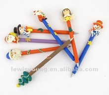 Snowman polymer clay ball pen
