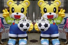 Cute Inflatable twins tiger Cartoon with football