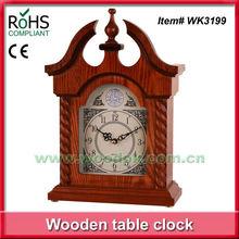 28x35.8cm Woodpecker pediment top shape wood clock with antique metal dial decorative desk clock