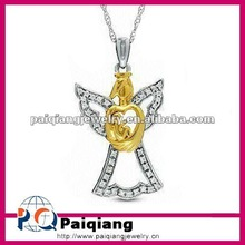 Fashion diamond gold and silver allah pendant necklace