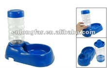 portable plastic pet feeding bowl with water bottle'